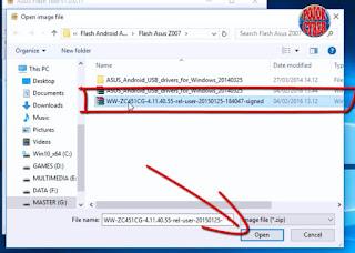 4. Setelah file firmware ditemukan, sorot lalu klik open.