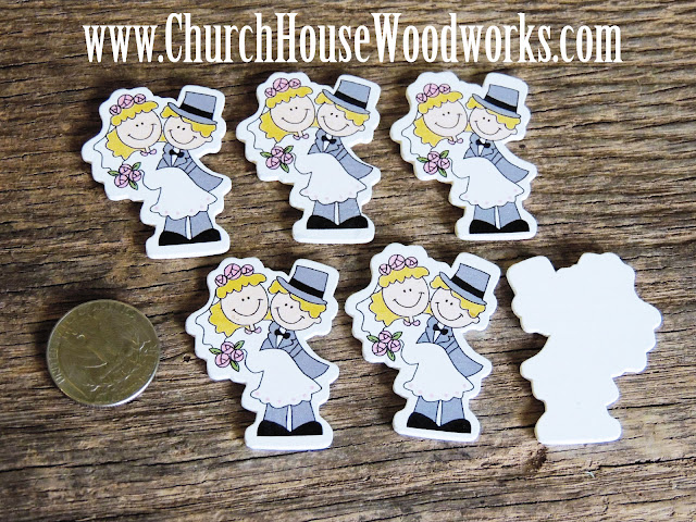 Bride And Groom Wood Table Confetti or DIY Wedding Centerpieces- Pack of 5 by Church House Woodworks