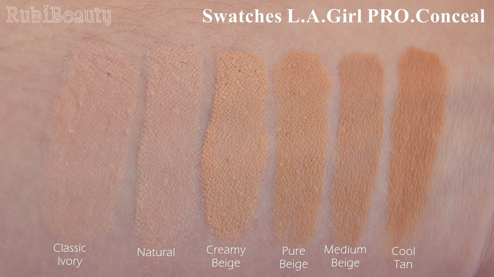rubibeauty review swatch swatches corrector LA Girl L.A Pro conceal HD concealer
