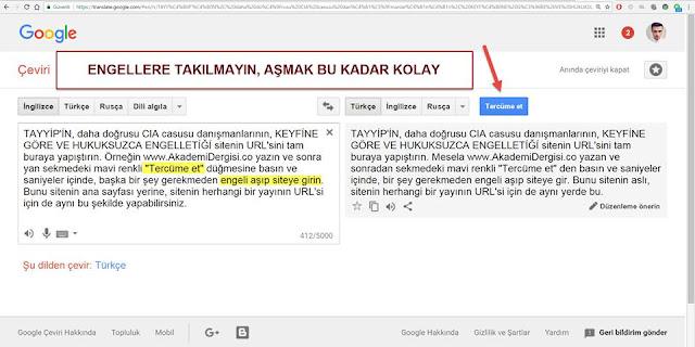 Google Translate ile Erişim Yasaklarını Delme