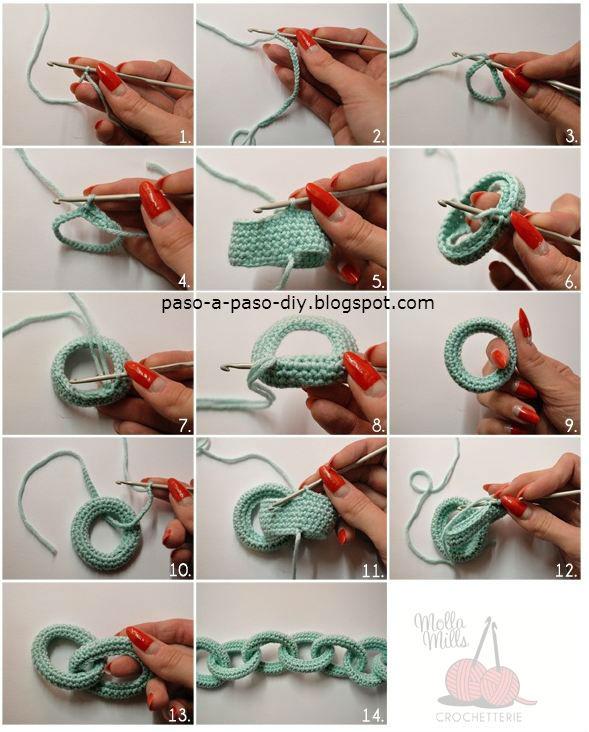 cadena tejida al crochet paso a paso