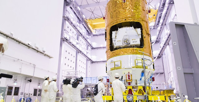 HTV-7 at the Second Spacecraft Test and Assembly Building, Tanegashima Space Center. Photo Credit: JAXA.