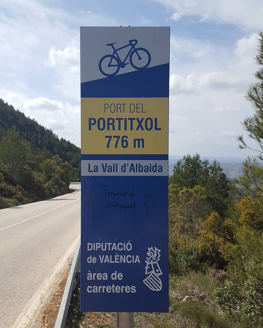 Summit of Port del Portitxol, Vall d'Albaida, Valencia, Spain