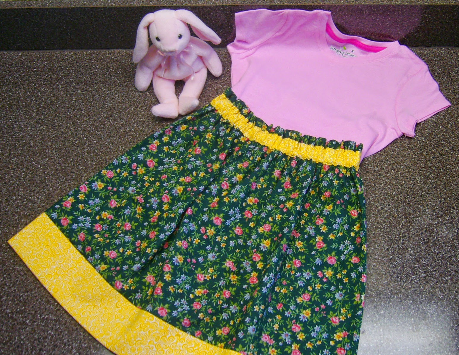 Handmade skirt for an Operation Christmas Child shoebox.