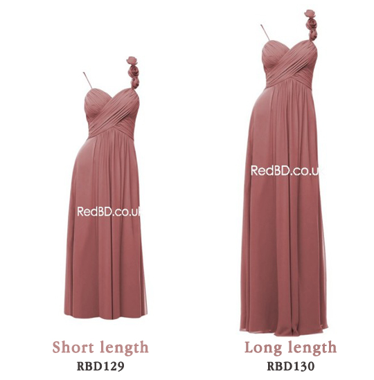 Chiffon Spaghetti Strap with Floral Detail Ruched Bodice Bridemsaid Dresses