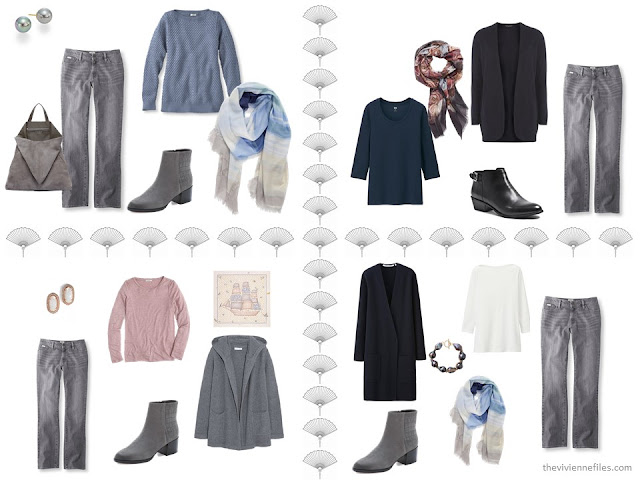 four outfits taken from a 16-piece travel capsule wardrobe in navy, grey, soft pink and light blue