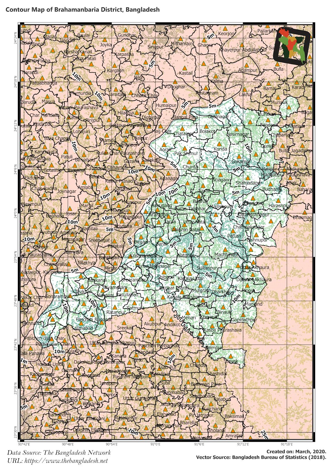 Elevation Map of Brahmanbaria District of Bangladesh