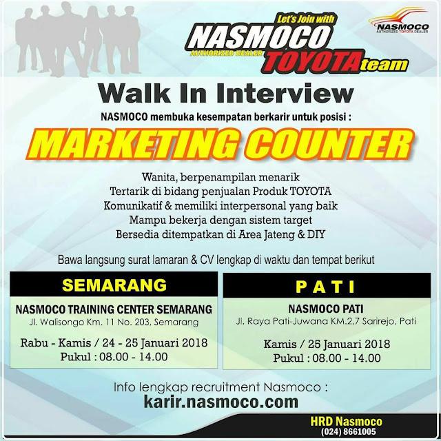 Lowongan Kerja Dealer Toyota Nasmoco, Walk In Interview Januari 2018