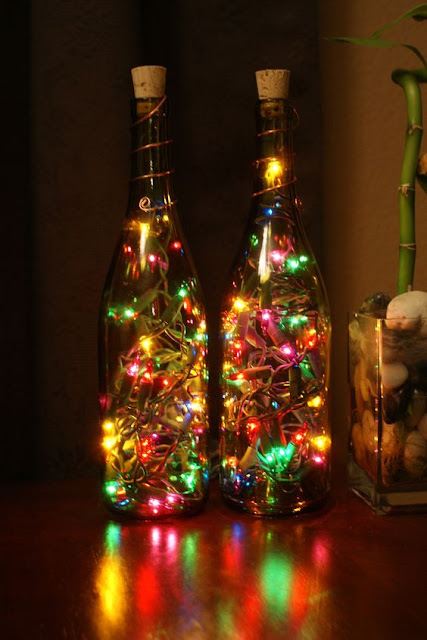 Decoration christmas glass bottle.