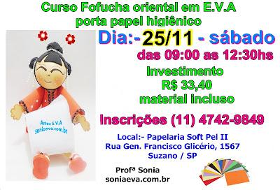 Curso fofucha oriental em E.V.A - porta papel-higiênico   inscrições abertas
