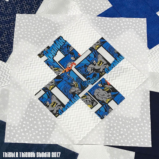 Batman Blue RK Block Made By Thistle Thicket Studio. www.thistlethicketstudio.com