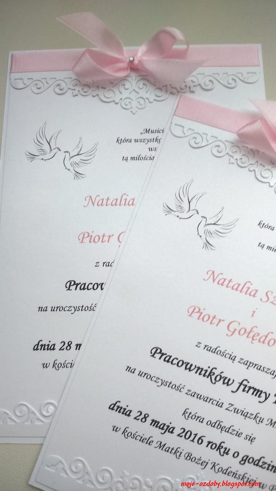 Moje Ozdoby Biało Różowe Zawiadomienia O ślubie