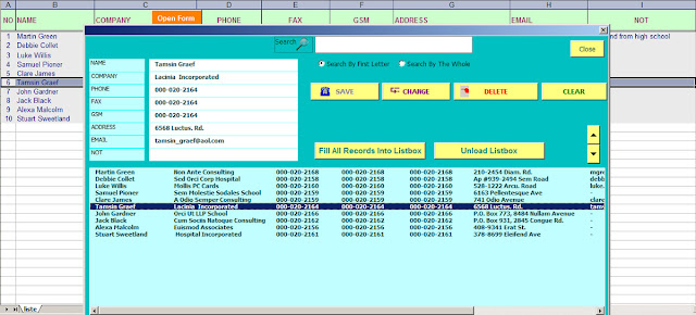 excel address book