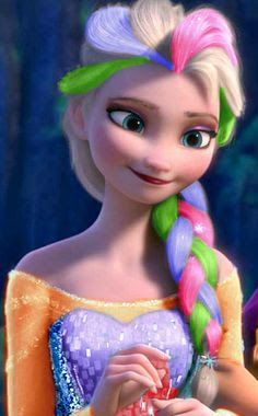 Putri Elsa Frozen Pelangi Rambut Warna Warni Rainbow Princess