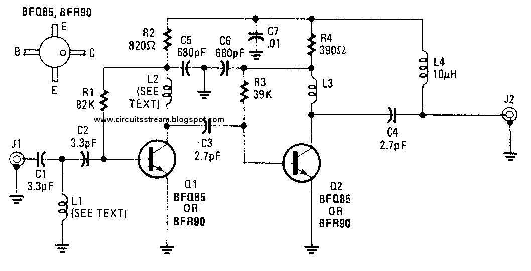 build a uhf tv preamplifier circuit diagram