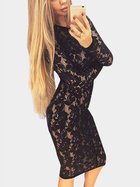 Sexy Black Hollow Lace Bodycon Party Midi Dress