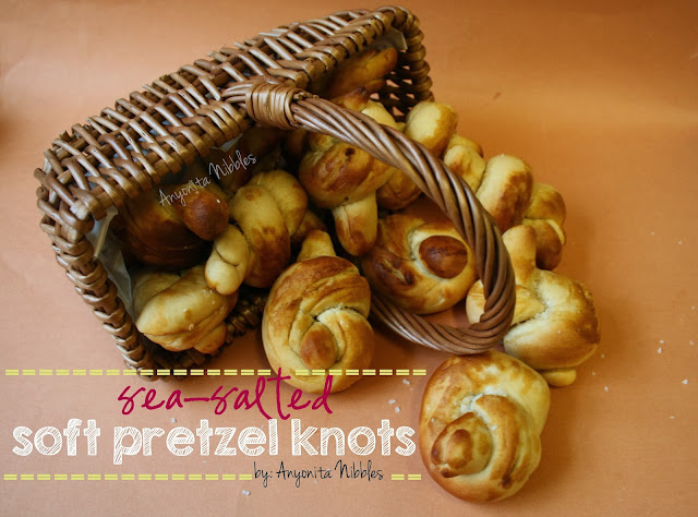 "Sea Salted Soft Pretzel Knots by www.anyonita-nibbles.com The best, easiest pretzel recipe ever! One pinner said, ""We almost ate all of these in one go!"""