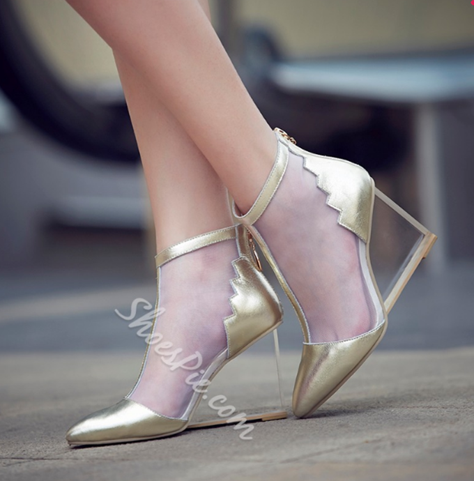 Shoespie Mesh Zipper Transparent Heel Wedge Heels