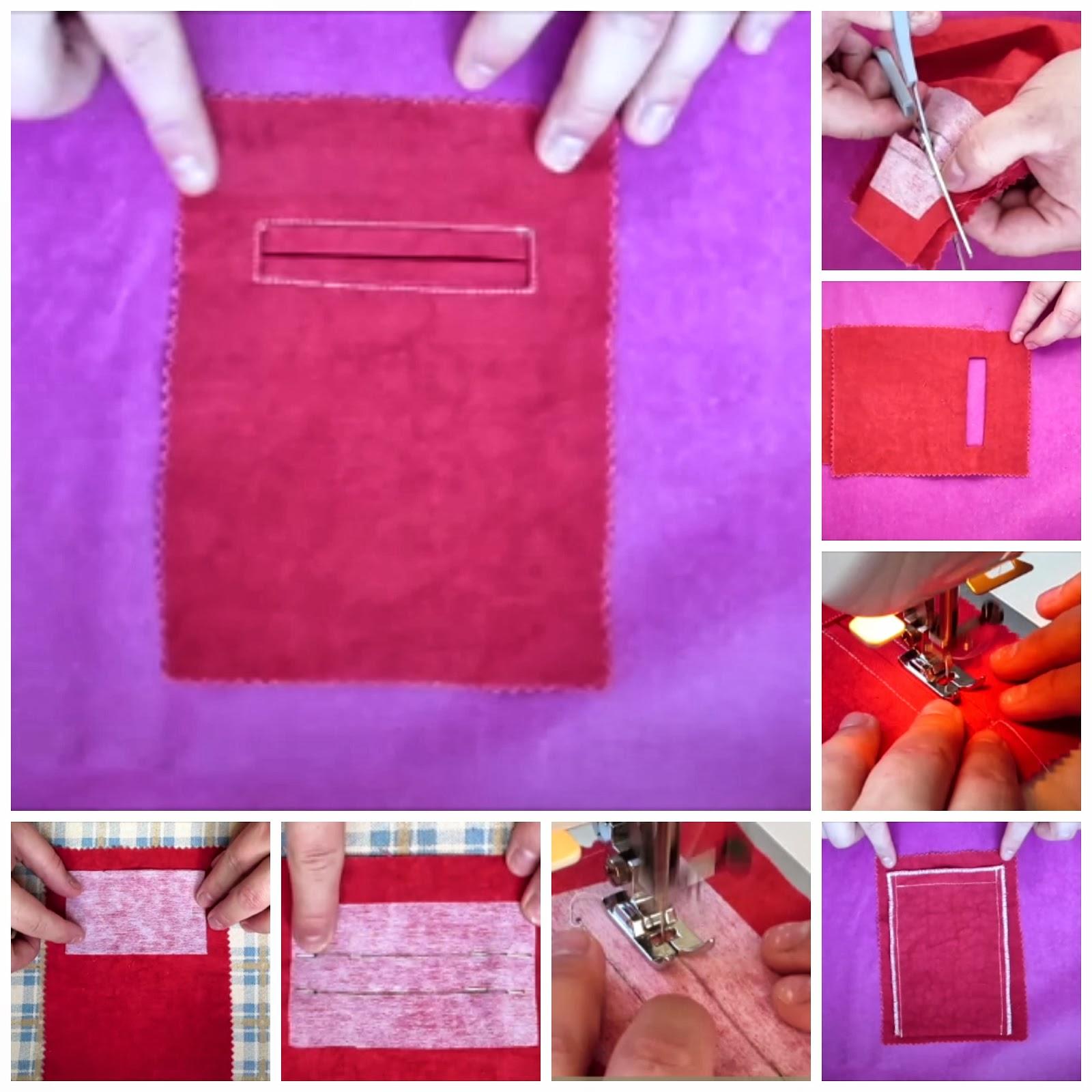 Tutorial bolsillo ribeteado coser es f cil - Colgador de tela con bolsillos ...