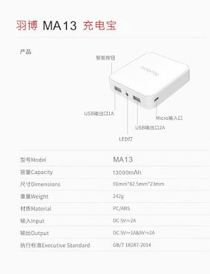 รีวิวขายแบตสำรอง Power Bank Yoobao รุ่น MA13 Dual USB Fast Output Mini