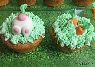 cupcakes carottes, cupcakes lapins, cupcakes de Pâques, cupcakes mignons, Easter carrot cakes, pâtisserie, cake design, patissi-patatta