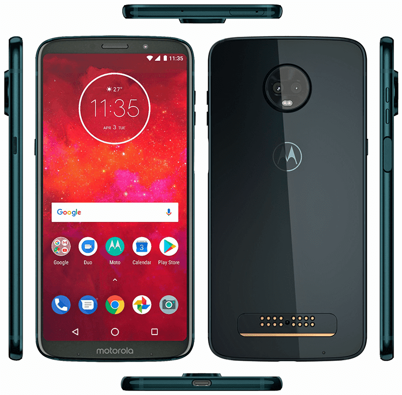 Moto Z3 Play leaks, will come with an 18:9 screen and side mounted fingerprint reader