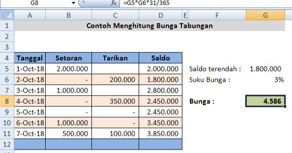 Menghitung Bunga Tabungan Bank Dengan Rumus Dalam Microsoft Excel Adhe Pradiptha