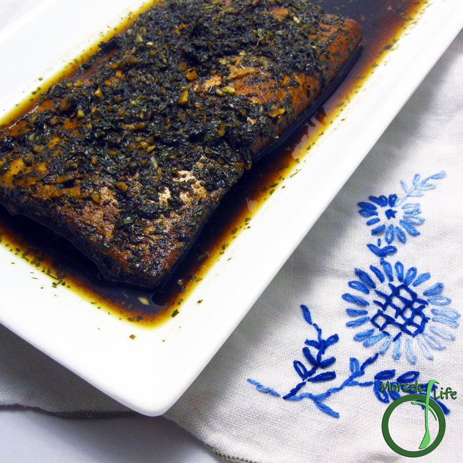 Morsels of Life - Balsamic Salmon - A sweetly tangy salmon with basil, cilantro, and garlic in a balsamic sauce.