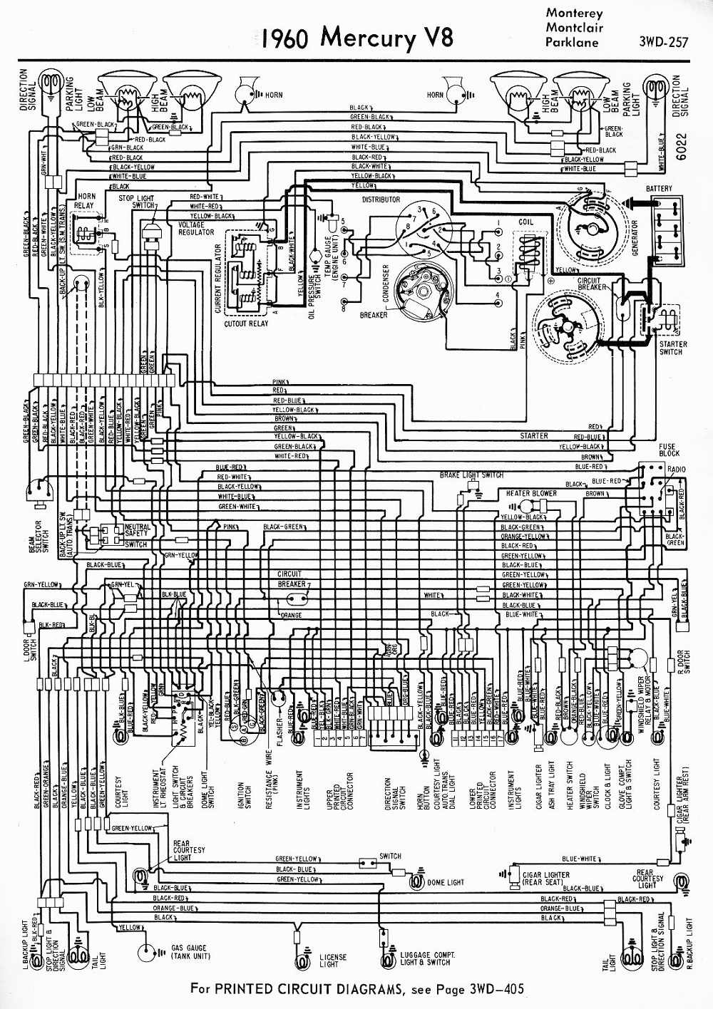 Diagram 1960 Mercury V8 Monterey Montclair Parklane Wiring Diagram