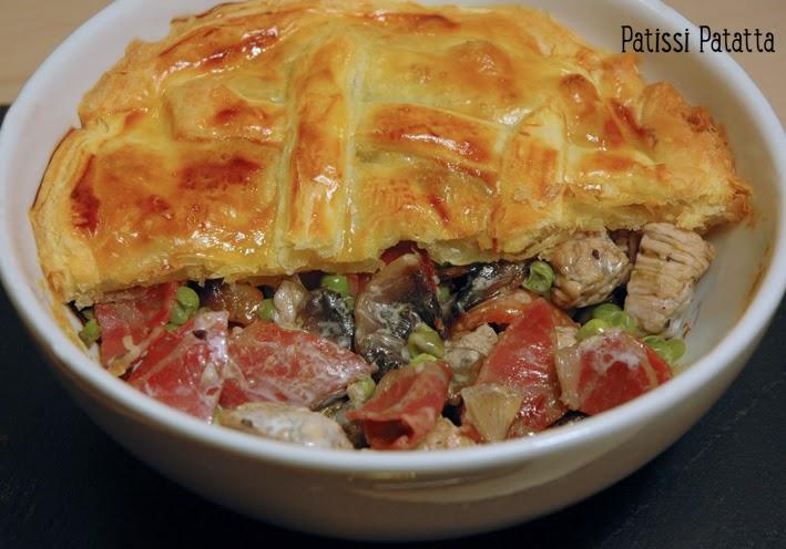 recette de feuilleté poulet et légumes, chicken pie recipe, ramequin feuilleté