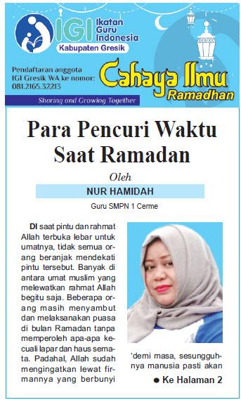 Tulisan Hari ke-3 Program Cahaya Ilmu Ramadhan tahun 2019
