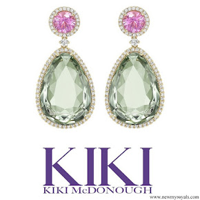Kate Middleton Kiki McDonough Candy Pink Tourmaline and Green Amethyst Drop Earrings
