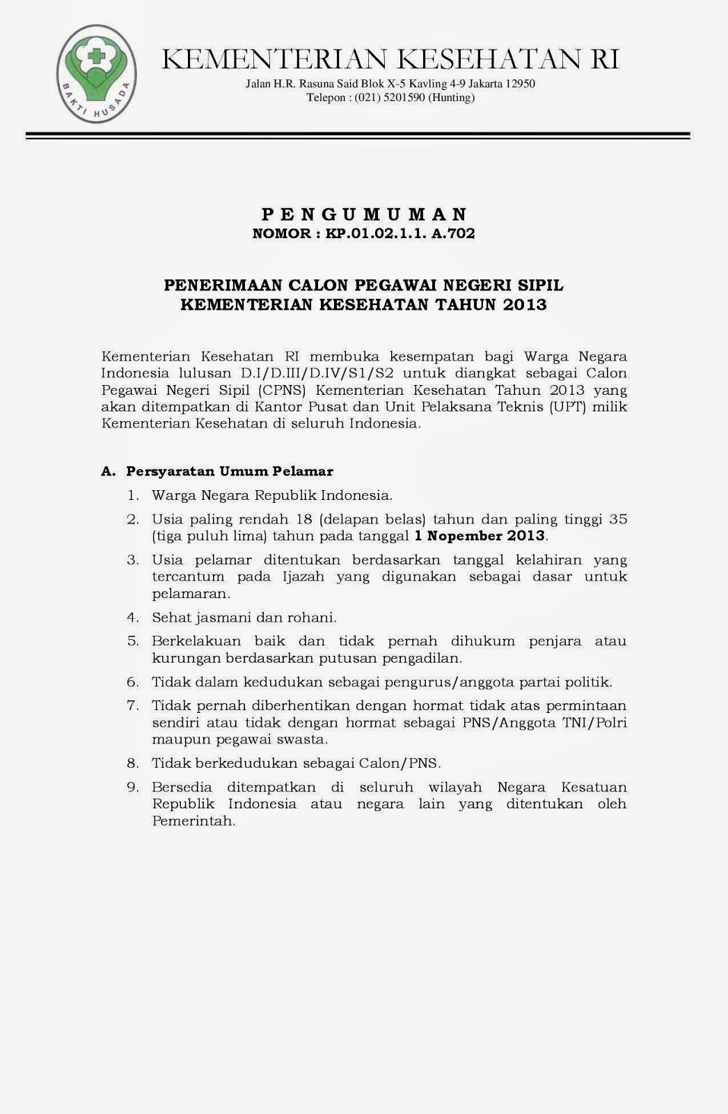 Penerimaan Cpns Depkes 2013 Cpns 2016 Cpnsindonesiacom Penerimaan Cpns Kementrian Kesehatan Tahun 2013 Lowongan Kompas