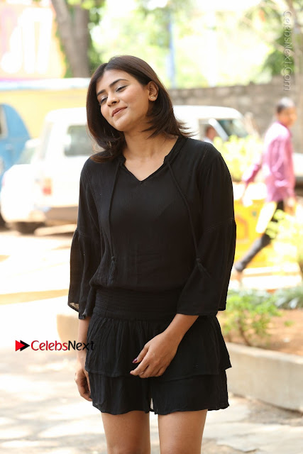 Actress Hebah Patel Stills in Black Mini Dress at Angel Movie Teaser Launch  0010.JPG