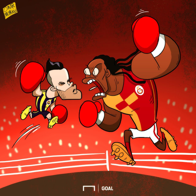 Mathieu Valbuena v Bafetimbi Gomis cartoon