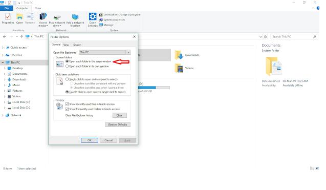 Open Each Folder in the Same Window pada ✓✓ Cara Mengatasi Open New Window saat membuka Folder Pada Windows 10