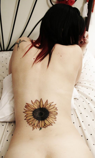 Sexy Lower Back Sunflower Tattoo For Girls