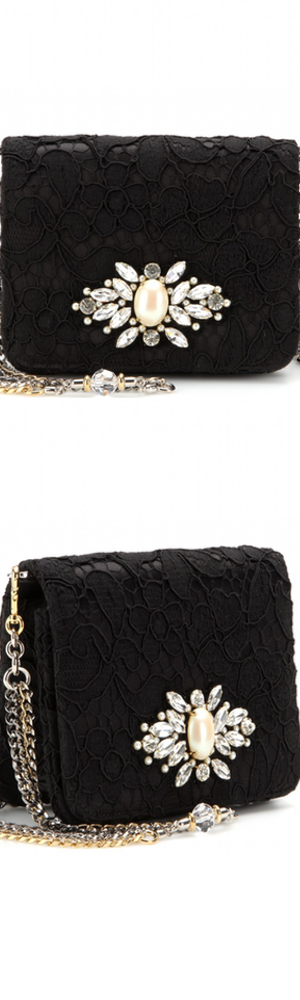 DOLCE & GABBANA Karlie crystal-embellished lace shoulder bag