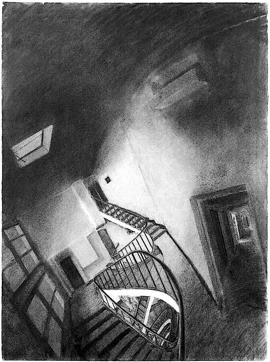 art by Sam Szafran, strange stairs and interior