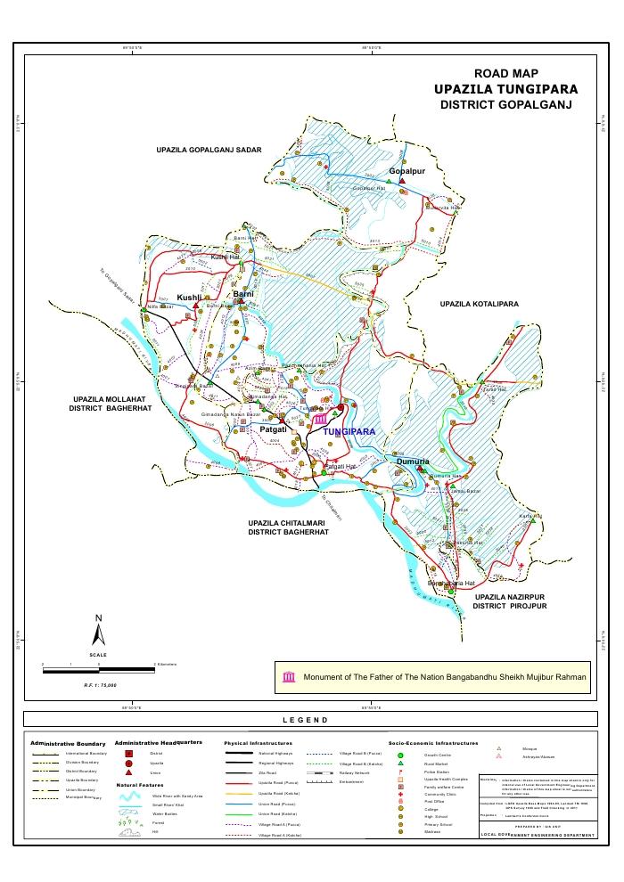 Tungipara Upazila Road Map Gopalganj District Bangladesh