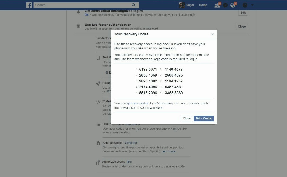 Enable Two Step Verification in Facebook