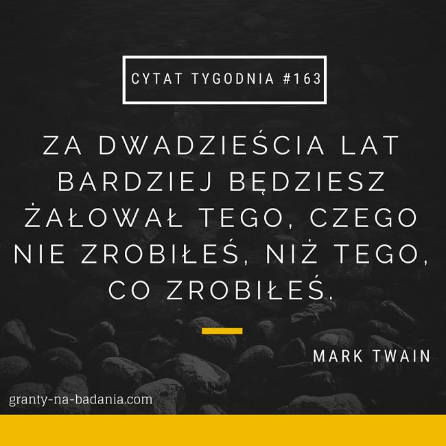 Za dwadzieścia lat bardziej będziesz żałował tego, czego nie zrobiłeś, niż tego, co zrobiłeś. - Mark Twain