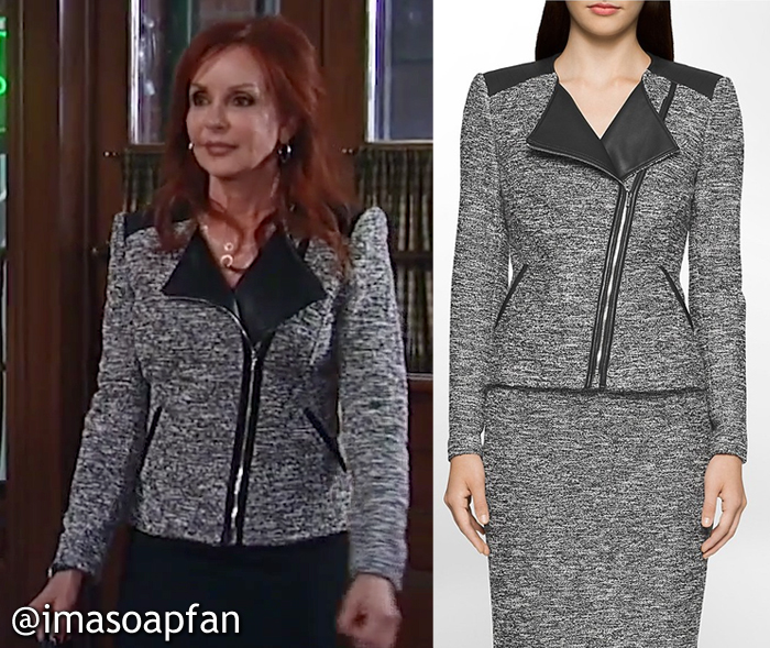 Bobbie Spencer, Jackie Zeman, Grey Tweed Moto Jacket, Calvi Klein, GH, General Hospital