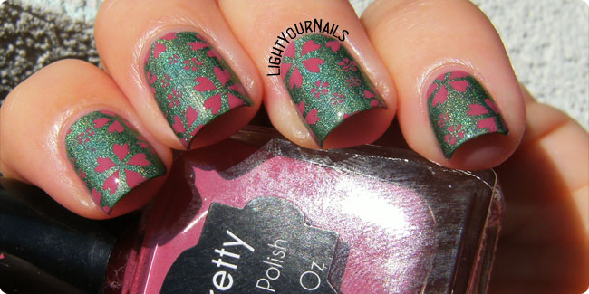 Green and pink flower nail stamping