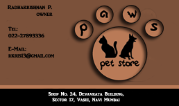 paws pet store visiting card