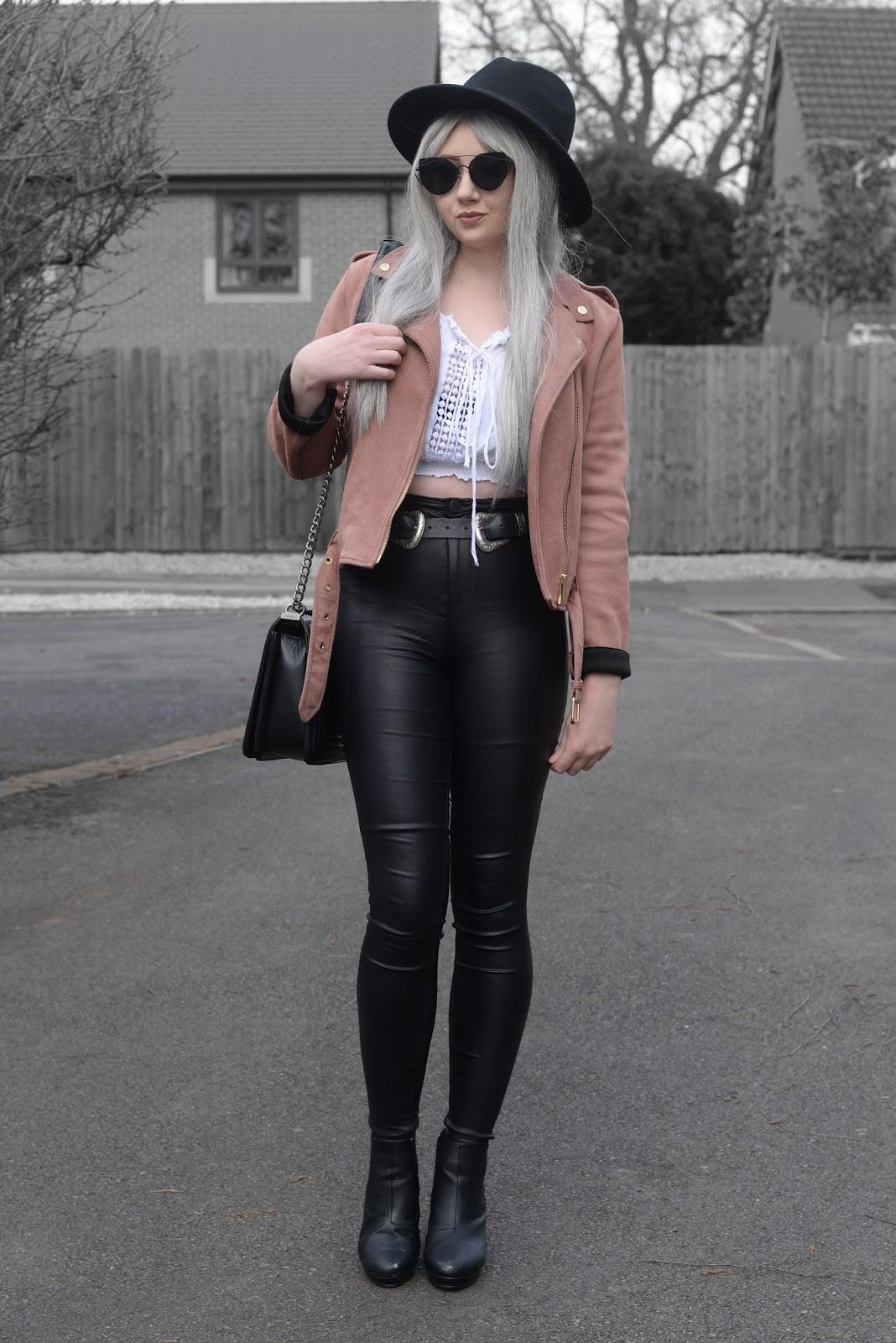f0d8eb8a6a Sammi Jackson - Black Primark Fedora / Zaful Sunglasses / Primark Pink  Suede Biker Jacket /