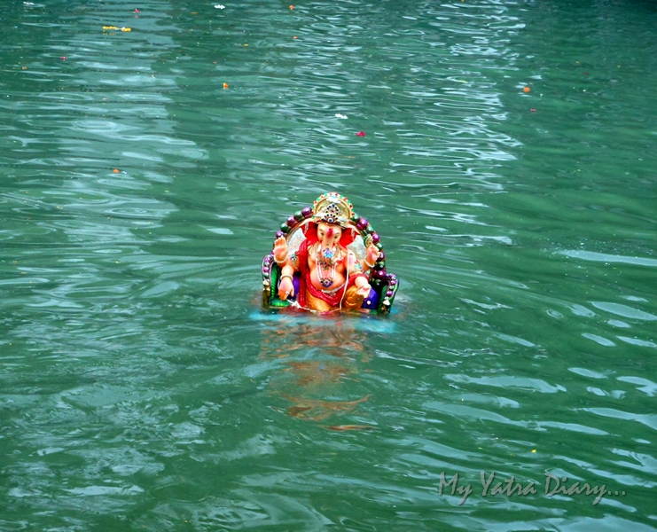 A Ganesha immersed in an artificial pond during the festival of Ganesh Visarjan, Mumbai
