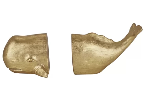 Gold Whale Bookends