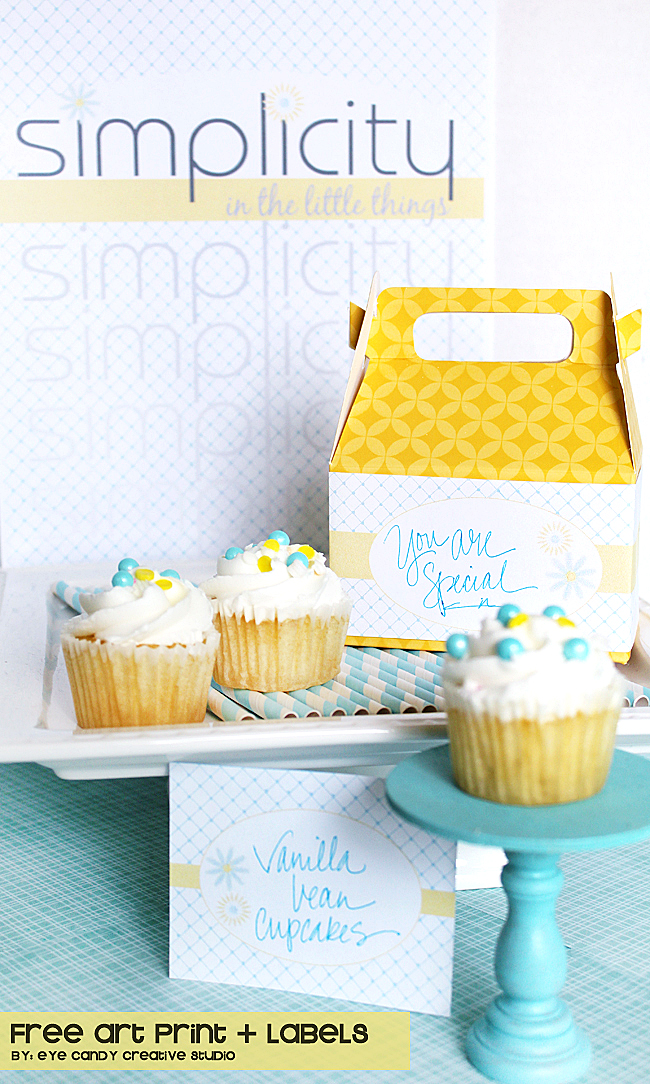 free labels, cupcakes, yellow & blue, free party printables, straws, art