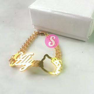 gelang nama lapis emas polos - alya